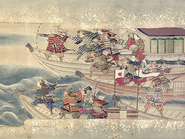 detail: Japanese troops wielding bows, halberds, swords, and other classical weapons
